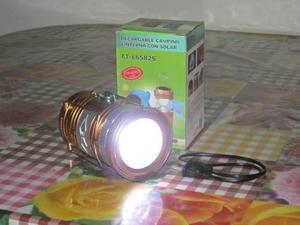 Lámpara linterna led solar y corriente para camping x mayor