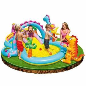 Piscina inflable dinosaurio juegos ñiños jardin diversion