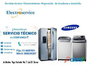 Lavadora secadora, refrigeradores Samsung reparación a domicilio