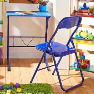 Escritorio metal + silla plegable azul o rosado