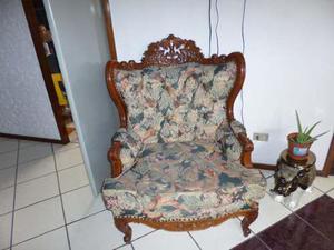 Juego muebles sala tallados en madera cedro tipo luis xv