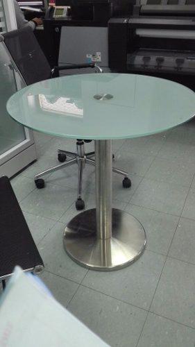 Mesa circular acero inoxidable con tablero vidrio templado