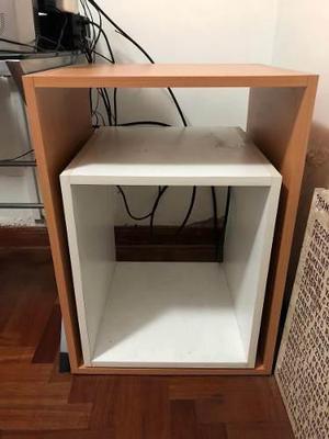 Mueble melamine cubos blanco/nogal