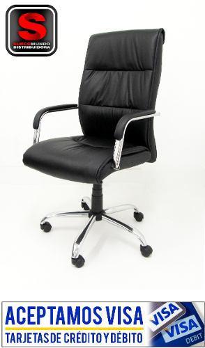 Sillón oficina cuero pu giratorio reclinable b/cromada q204