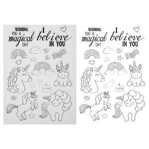 Sello unicornio scrapbook papel manualidades