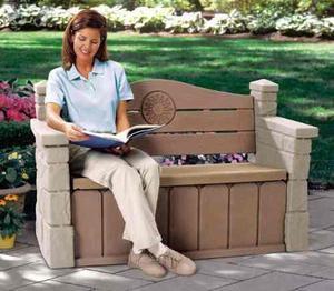 Banca almacenamiento baul parque jardin step2