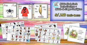 Juegos fonológicos y módulo de flash cards de
