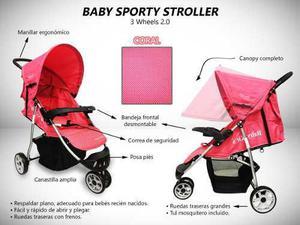Coche para bebé sporty 3 ruedas exclusivo nuevo caja