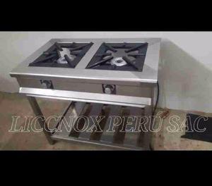 Cocina industrial de 2 hornillas en acero inoxidable