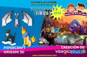 """Vacaciones Utiles 2019: Creación de Video Juegos 3D y Papercraft """"Origami 3D"""