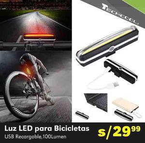 Luces led bicicleta moto usb recargable 100 lumenes techcool
