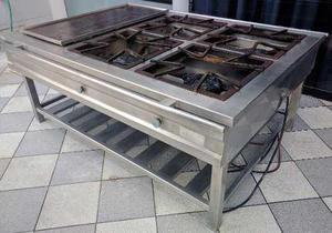 Cocina industrial acero inoxidable cuatro hornillas plancha