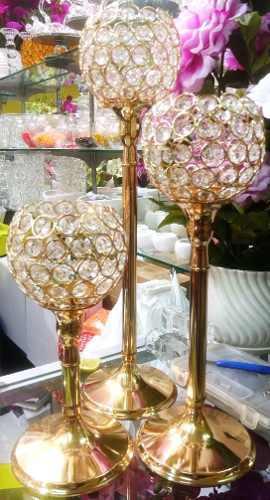 Set de 3 portavelas copas doradas
