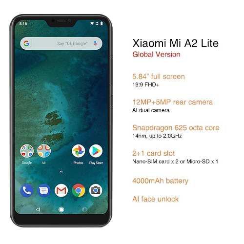 Xiaomi Mi A2 Lite 3 Gb Ram 32 Gb Rom