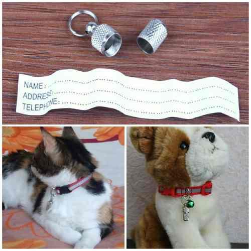 Dije cápsula identificador medalla mascotas perros gatos