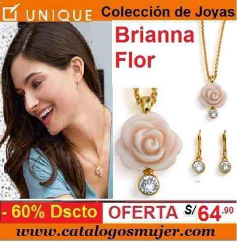 5a9945cde067 Joyas unique colección briana flor (collar+aretes) sellada