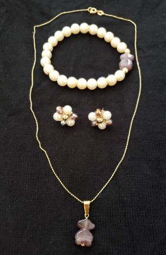 Piedra natural acero y baño en oro murano swarovsky perl