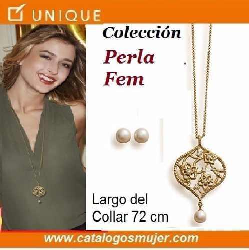 bfd674901288 Remate joyas unique collar + aretes perla fem envio gratis