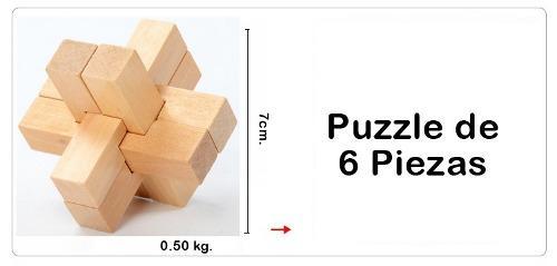 ROMPECABEZAS - PUZZLE DE MADERA 3D DE 6 PIEZAS, usado segunda mano  Lima (Lima)