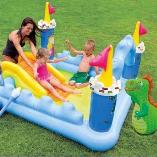 Piscina castillo inflable con resbaladera niños y niñas