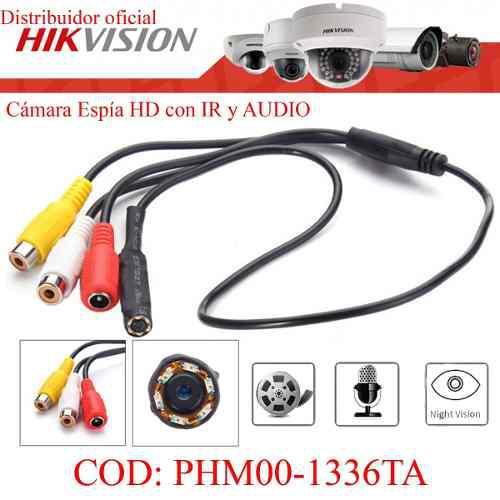 Cámara espía con audio cctv hd 720p para dvr hikvision