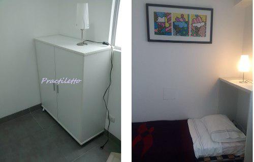 Cama mueble plegable / colchon 1pza melamine18m (foto real)