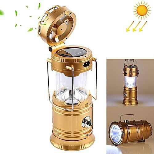 Lampara con linterna y ventilador recargable con panel solar