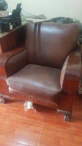 Muebles de sala estilo pata de león madera caoba de