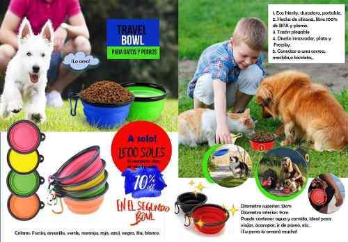 Plato Plegable De Silicona Mascotas Perro Gato Agua Comida