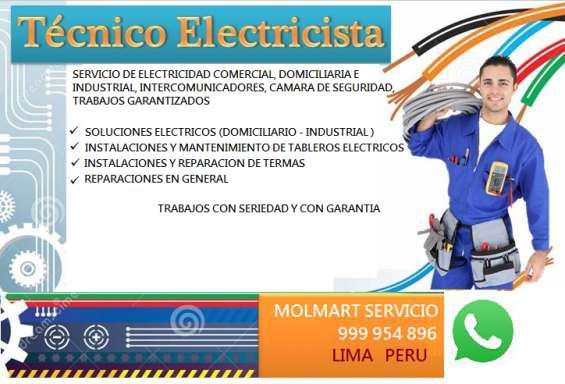 Servicio electricista, servicio de gasfiteria, electricista