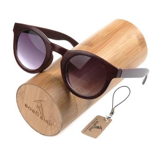 Lentes de sol para mujer montura de madera de bambú 256f7f61ffaa