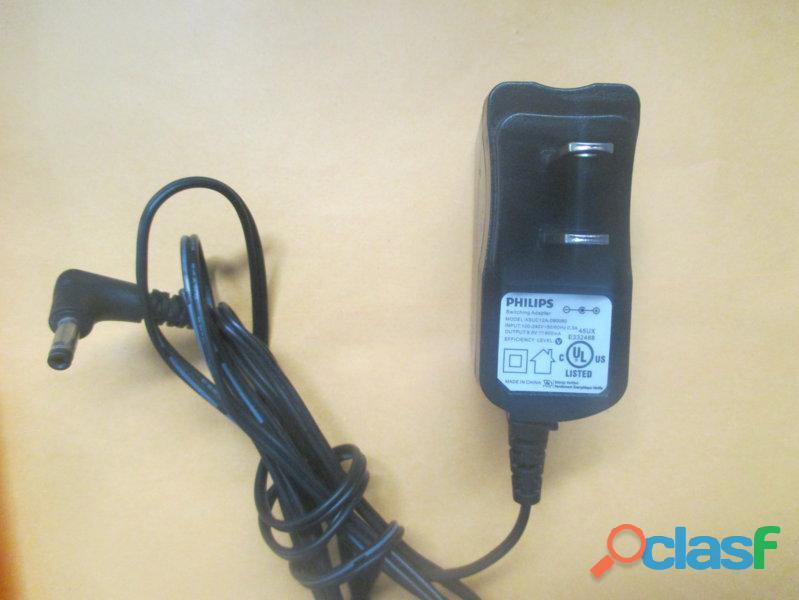 Cargador philips asuc12a 090080 para dvd portatil de 9v   600ma punta media original