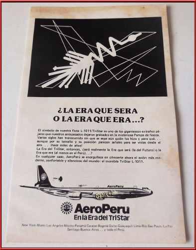 Dante42 Publicidad Antigua Retro Aerolineas Aeroperu 1990