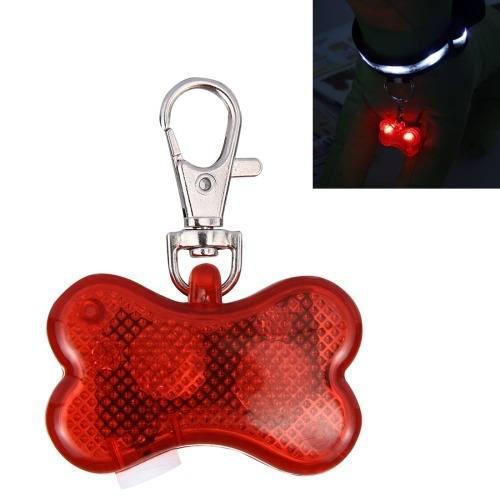 2 led hueso seguridad para mascota colgante flash