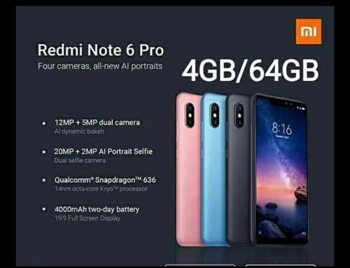 Xiaomi redmi note 6 pro, 4/64, nuevo sellado color - azul