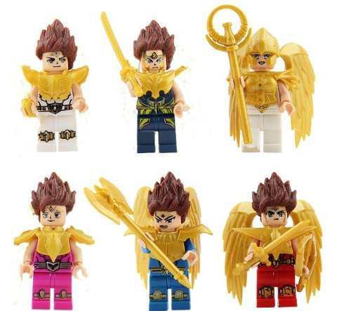 Caballeros del zodiáco 6pzas tipo lego -seiya-shiryu-athena