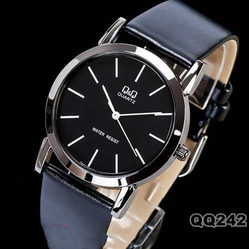 0a54dc3a7e5e Reloj acero malla de cuero origenal q amp q q662j502y