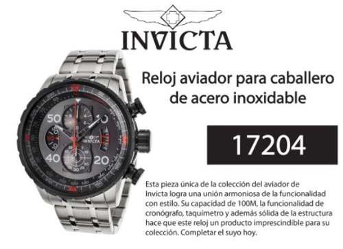 f259157a0048 Reloj invicta aviator 17204 acero inoxidable - original