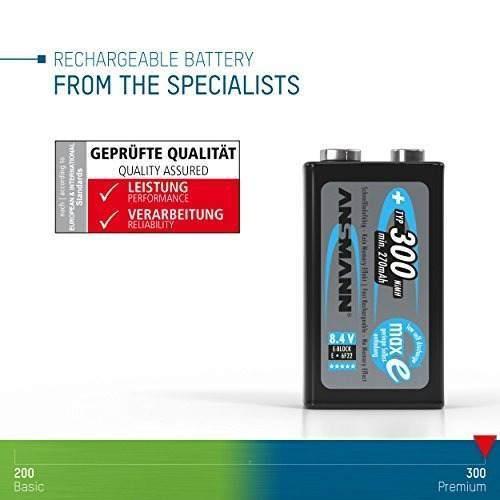 Ansmann baterías recargables de 9v 300mah con carga baja ba