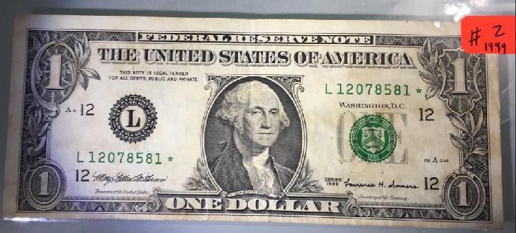 Billete de 1 dolar americano con estrella 1999 *