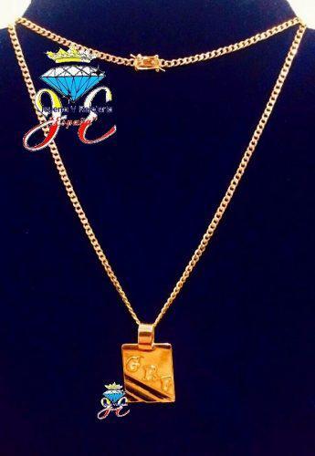 Cadena oro 18k lomo corvina placa cc63 hombre jespaña