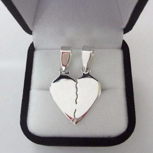 diseño popular último vendedor caliente gran descuento Collar Cadenas De Corazón Para Parejas En Plata Pura