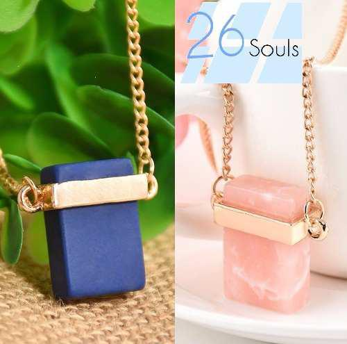 Collar de piedra natural cuarzo rosa y azul importado