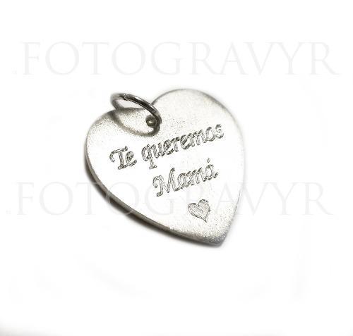 86a2d34e1cb62 Dije corazon de plata personalizado grabado