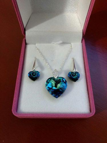 38554c67419e Joyas ds - set collar aretes corazón azul titanic plata 950