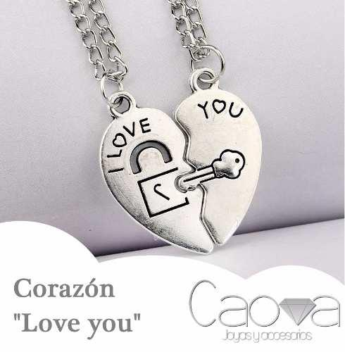 a0715e578089 REMATE COLLAR LOVE YOU CORAZON LLAVE CANDADO AMOR