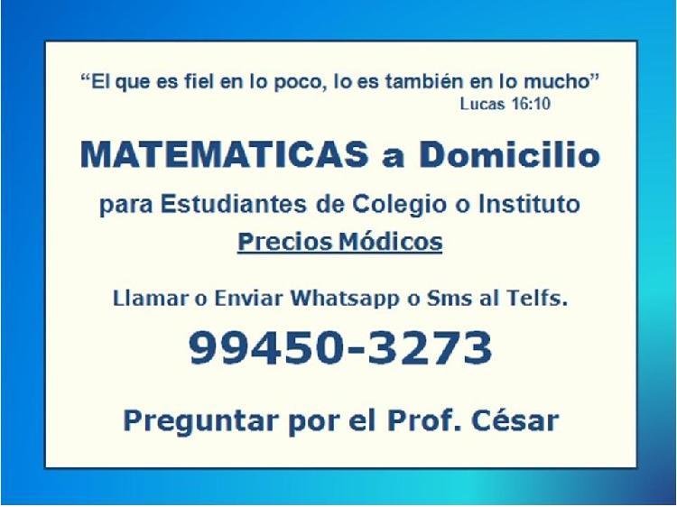 Profesor de matemáticas a domicilio: primaria, secundaria e
