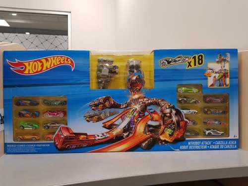 Kit pista hotwheels nitrobot attack + 18 carros + robot 2018