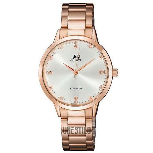 b26159ff97fc Reloj mujer q amp q acero oro rosa con piedras casual pulsera q