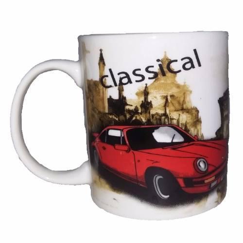 Taza ceramica loza blanca clasical auto rojo navidad regalo